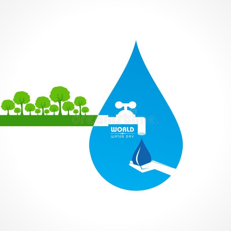Ahorre el concepto de la naturaleza - día del agua del mundo ilustración del vector