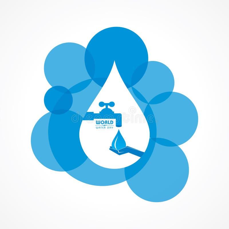 Ahorre el concepto de la naturaleza - día del agua del mundo stock de ilustración