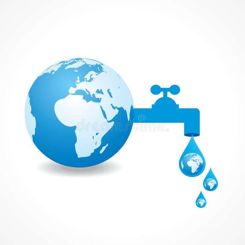 Ahorre el concepto del agua stock de ilustración