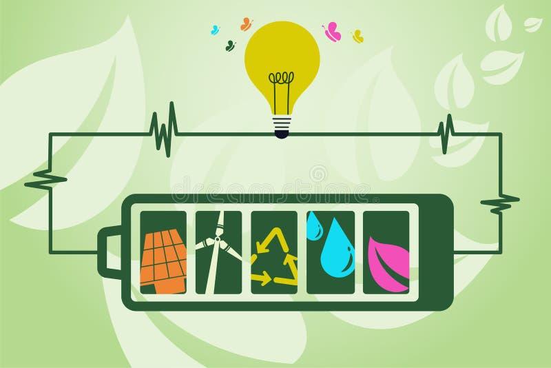 Ahorre el concepto del ambiente y del poder verde stock de ilustración