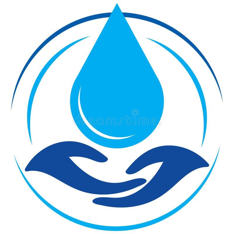 Ahorre el descenso del logotipo del agua con las manos ilustración del vector