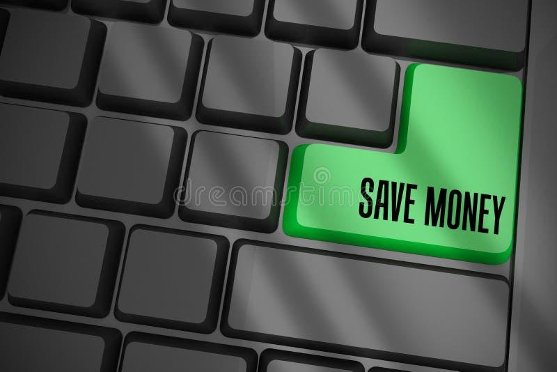 Ahorre el dinero en el teclado negro con llave verde libre illustration