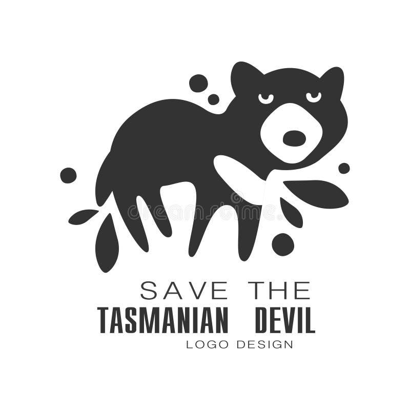 Ahorre el diseño del logotipo del diablo tasmano, protección de los ejemplos blancos y negros del vector de la muestra del animal stock de ilustración