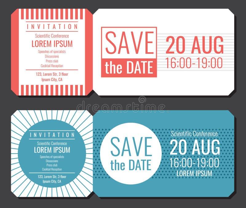 Ahorre el diseño minimalista del vector del boleto de la invitación de la fecha Plantilla moderna de las invitaciones de boda stock de ilustración