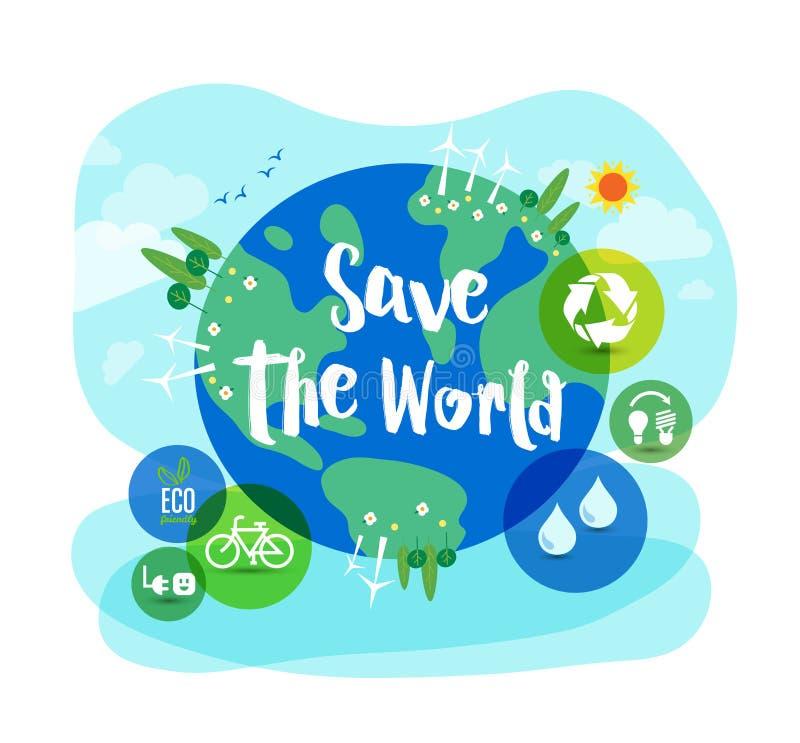 Ahorre el ejemplo del concepto del desarrollo sostenible del mundo ilustración del vector