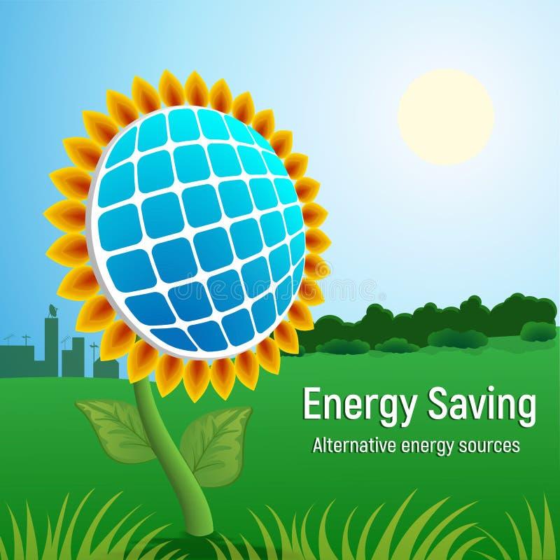 Ahorre el fondo del concepto del panel solar de la energía, estilo realista stock de ilustración