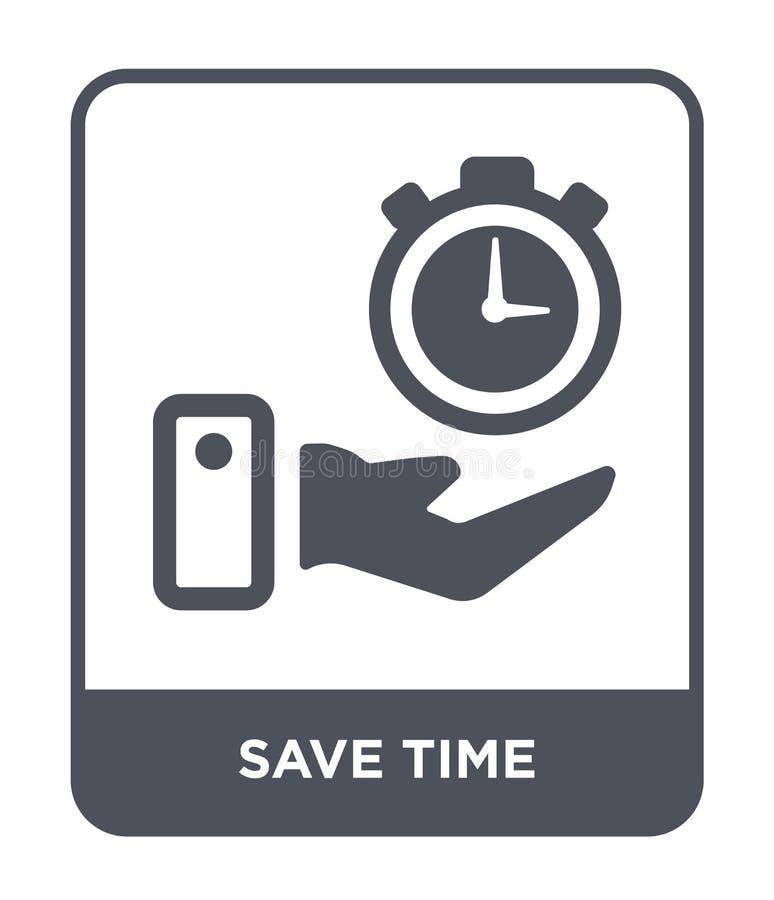 ahorre el icono del tiempo en estilo de moda del diseño ahorre el icono del tiempo aislado en el fondo blanco ahorre el plano sim ilustración del vector