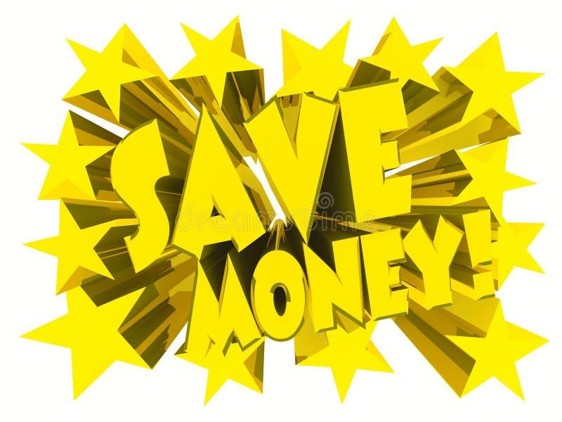 Ahorre el lema del dinero Texto de oro con las estrellas vivas stock de ilustración