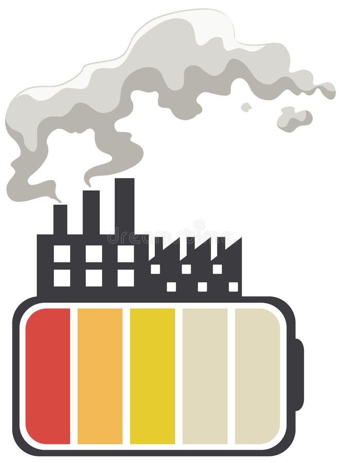 Ahorre el tema de la energía con la batería y la fábrica stock de ilustración