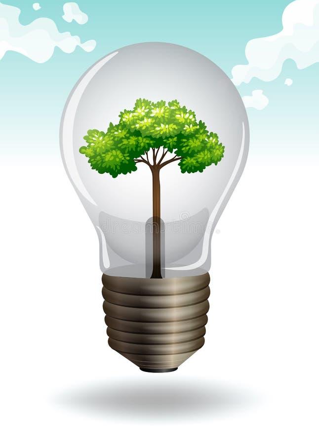 Ahorre el tema de la energía con la bombilla y el árbol stock de ilustración