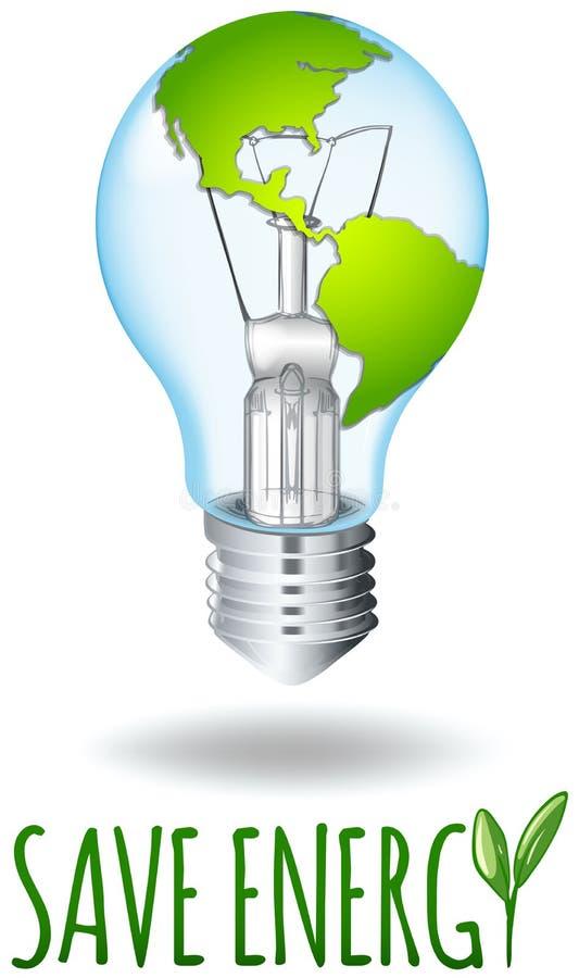 Ahorre el tema de la energía con tierra en la bombilla stock de ilustración