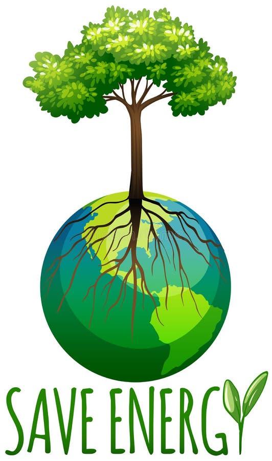 Ahorre el tema de la energía con tierra y el árbol stock de ilustración