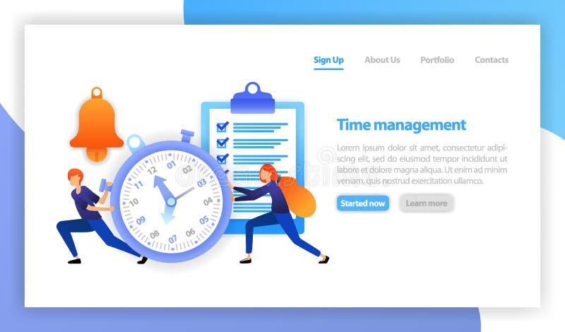 Ahorre el tiempo, cronómetro en el fondo blanco, gestión de tiempo en negocio, el tiempo es oro, reacción rápida, recordatorio, d stock de ilustración