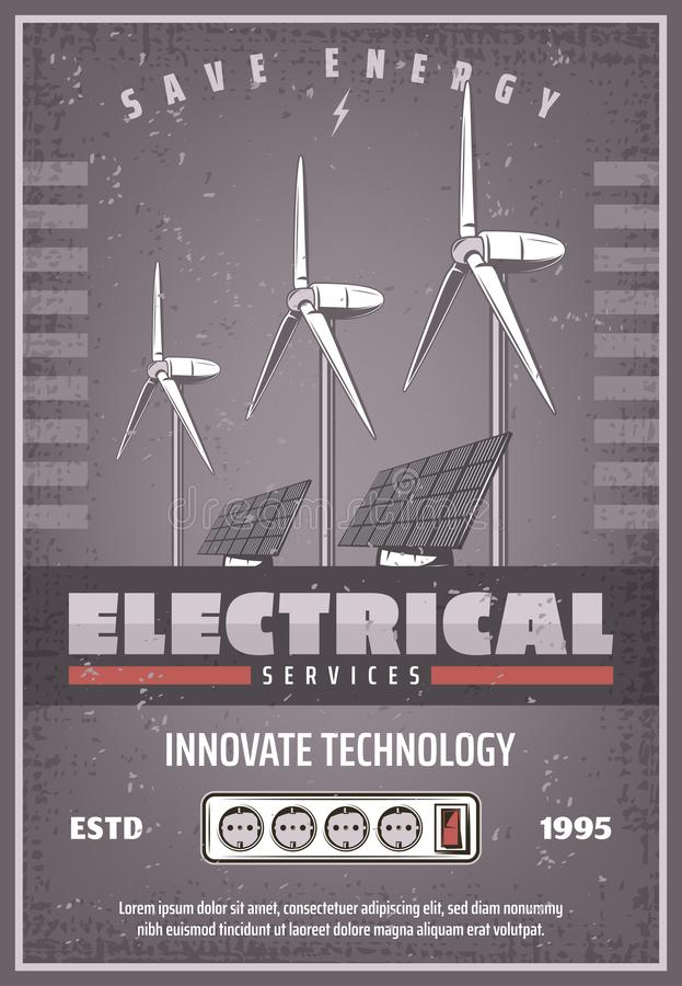 Ahorre la bandera retra de la energía de la tecnología del poder del eco ilustración del vector