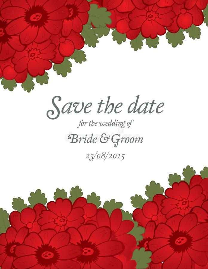 Ahorre la boda de la fecha invitan a la plantilla de la tarjeta con las flores rojas ilustración del vector