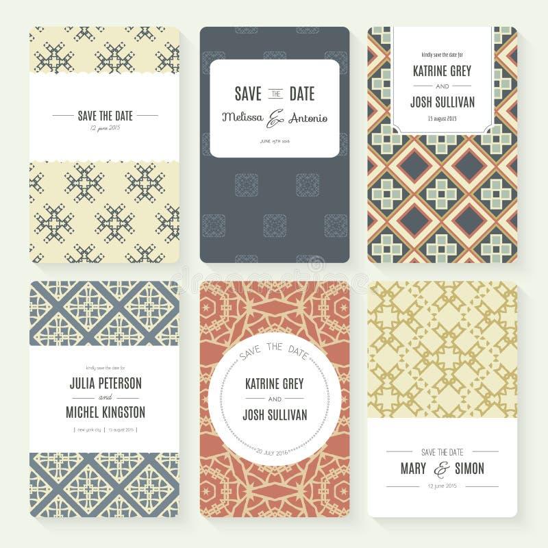 Ahorre la colección de la tarjeta de fecha ilustración del vector