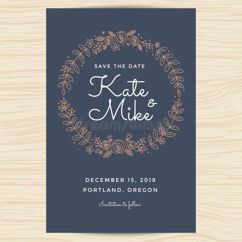 Ahorre la fecha, casandose la plantilla de la tarjeta de la invitación adornan con el marco de la guirnalda del drenaje de la man stock de ilustración