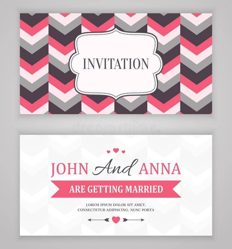 Ahorre la fecha, casandose la tarjeta de la invitación ilustración del vector