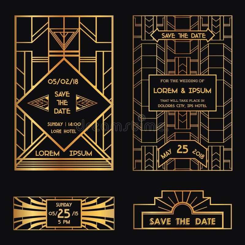 Ahorre la fecha - tarjeta de la invitación de la boda stock de ilustración