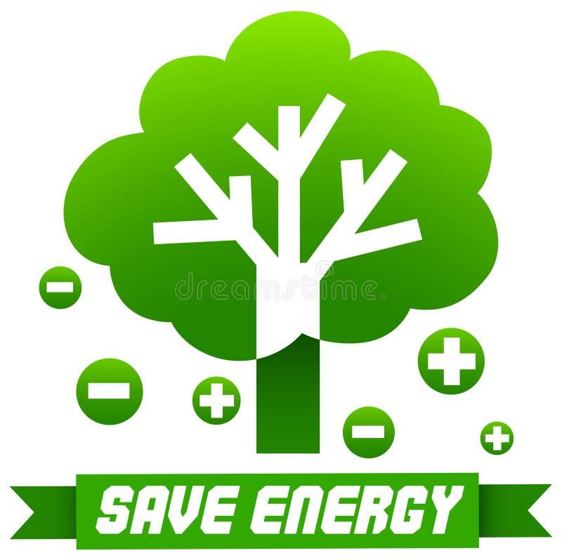 Ahorre la muestra de la energía con el árbol y símbolos libre illustration