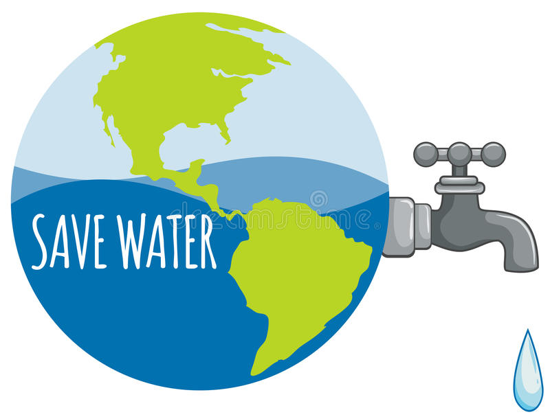 Ahorre la muestra del agua con el agua del grifo ilustración del vector