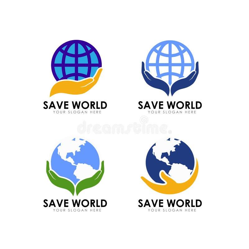 Ahorre la plantilla del diseño del logotipo de la tierra ahorre el icono del vector del logotipo del globo ilustración del vector