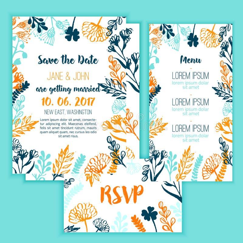 Ahorre la tarjeta de fecha con el marco del vintage, el menú y la tarjeta florales de RSVP Vector para saludar o las invitaciones ilustración del vector