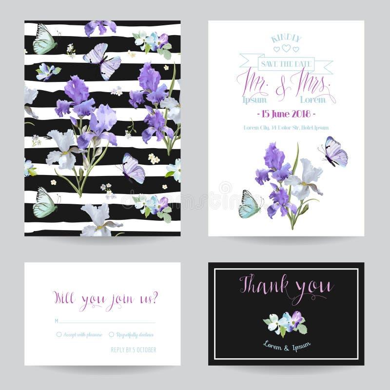 Ahorre la tarjeta de fecha con Iris Flowers y las mariposas Plantillas florales de la invitación de la boda fijadas Diseño botáni libre illustration