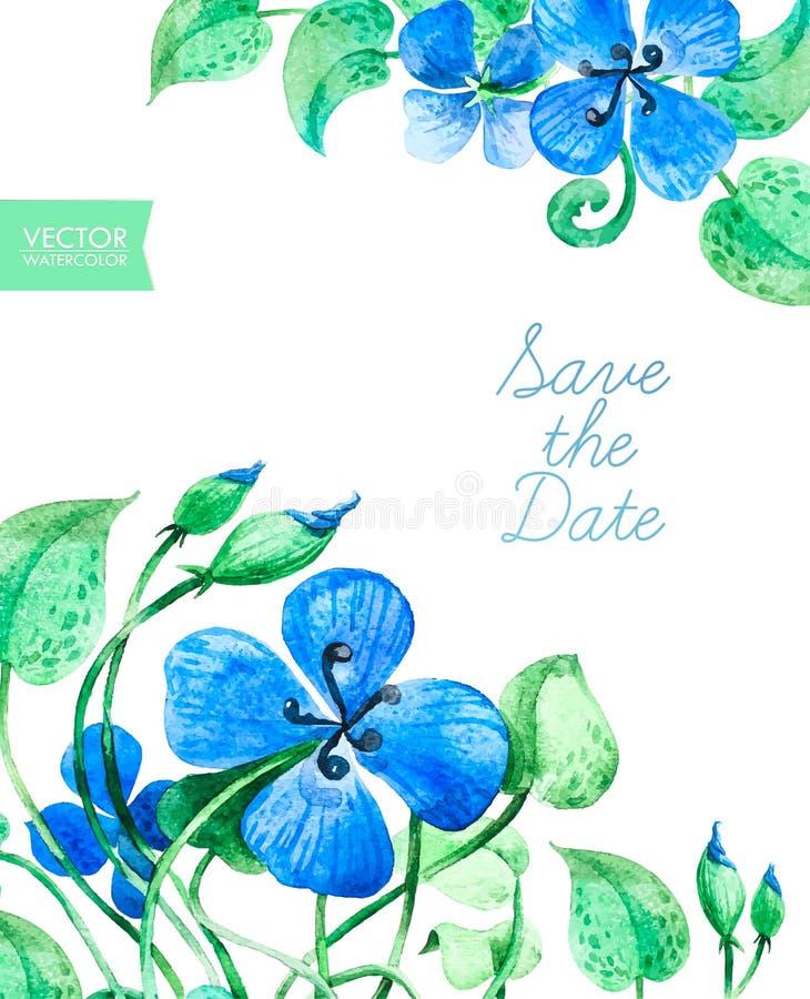 Ahorre la tarjeta de fecha con las flores azules de la acuarela libre illustration