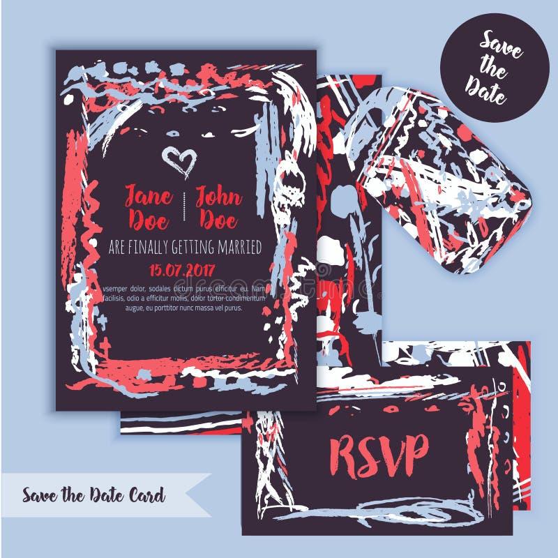 Ahorre la tarjeta a pulso de la fecha con el fondo dibujado mano Vector común moderno Menú y RSVP del diseño de la invitación stock de ilustración