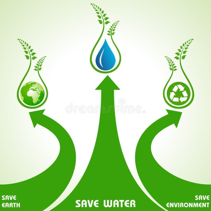 Ahorre la tierra, el agua y el concepto del ambiente ilustración del vector