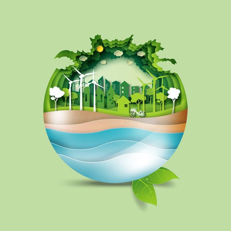 02 Ahorre la tierra y el concepto verde de la ciudad del eco stock de ilustración