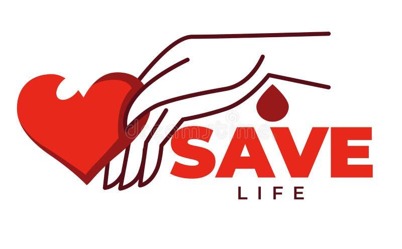 Ahorre la vida aisló el fondo de la caridad del corazón y de la mano del icono libre illustration