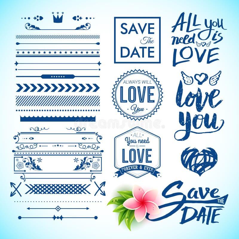 Ahorre las etiquetas de la fecha y del amor como iconos gráficos ilustración del vector