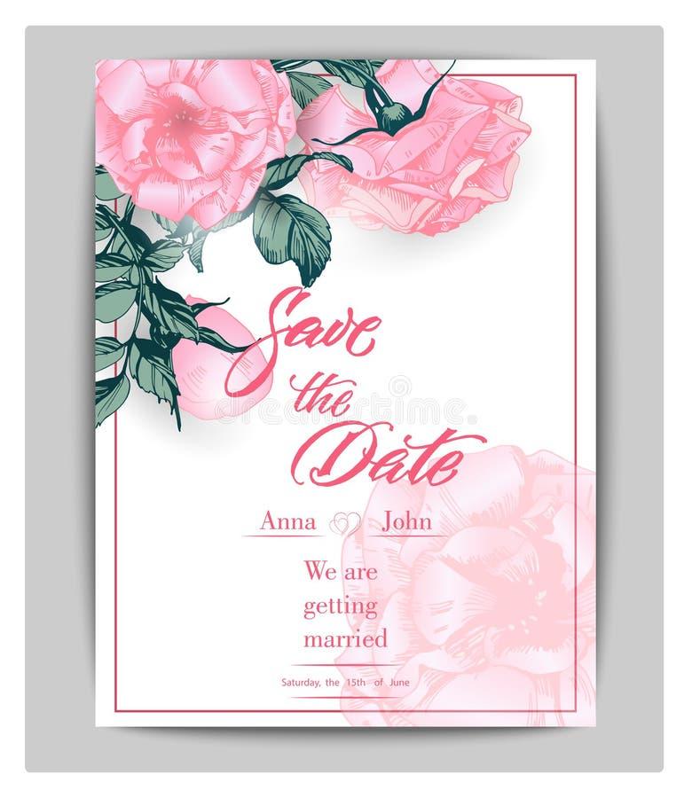 Ahorre las tarjetas de fecha con las rosas Puede ser utilizado para casarse la invitación, tarjeta de cumpleaños, plantilla del v libre illustration