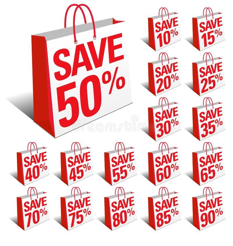 Ahorre los bolsos del icono de las compras con descuento del porcentaje libre illustration