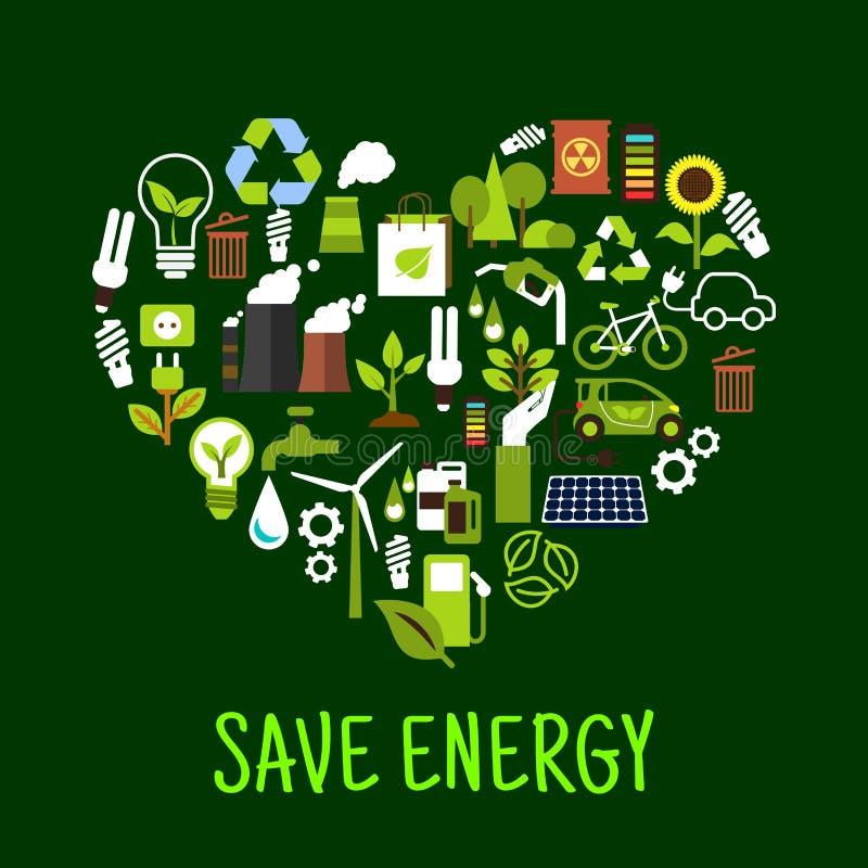 Ahorre los iconos del concepto de la energía en la forma del corazón ilustración del vector