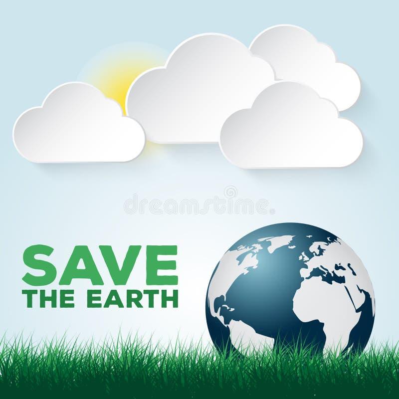 Ahorre nuestra plantilla azul y verde de la tierra del cartel stock de ilustración
