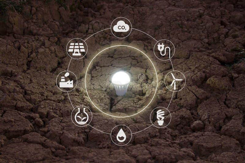 Ahorro de la energía con concepto del cambio del verde y de clima fotos de archivo