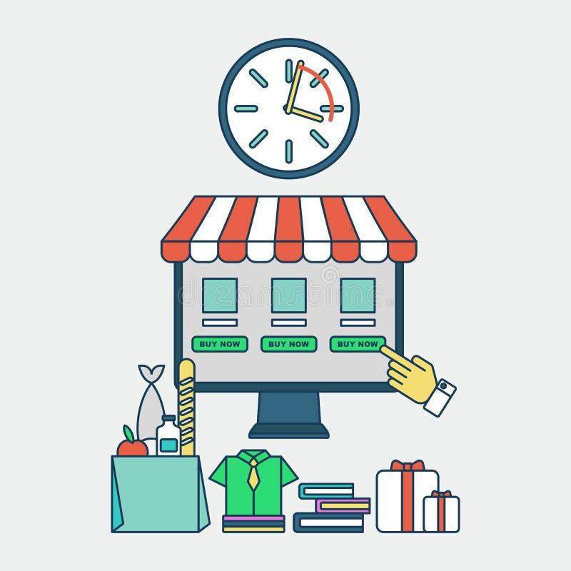 Ahorro En Línea De Las Compras Del Tiempo Ilustración del Vector ...