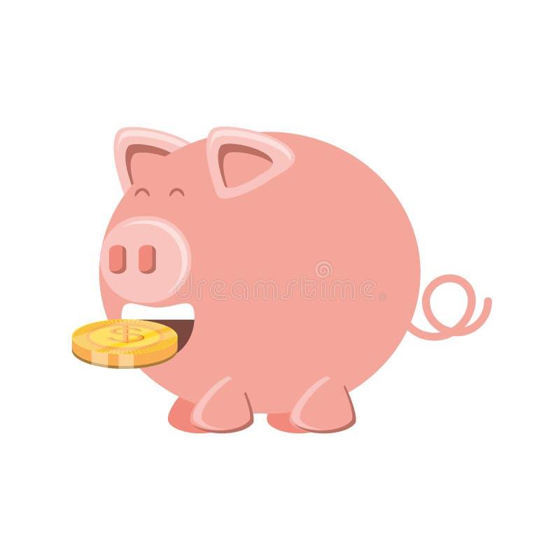 Ahorro guarro con la moneda del dinero ilustración del vector