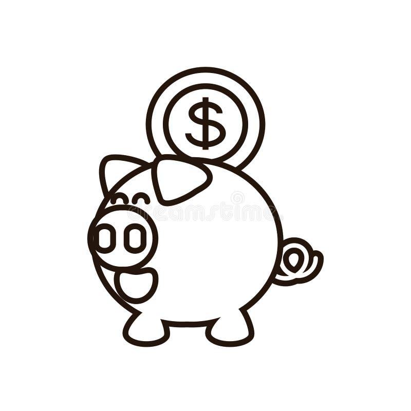 Ahorro guarro con la moneda del dinero stock de ilustración