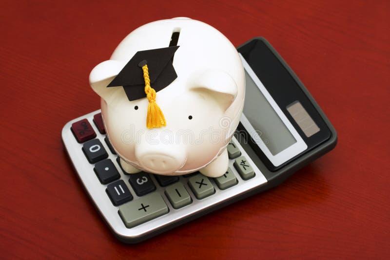 Ahorros calculadores de la educación imagen de archivo