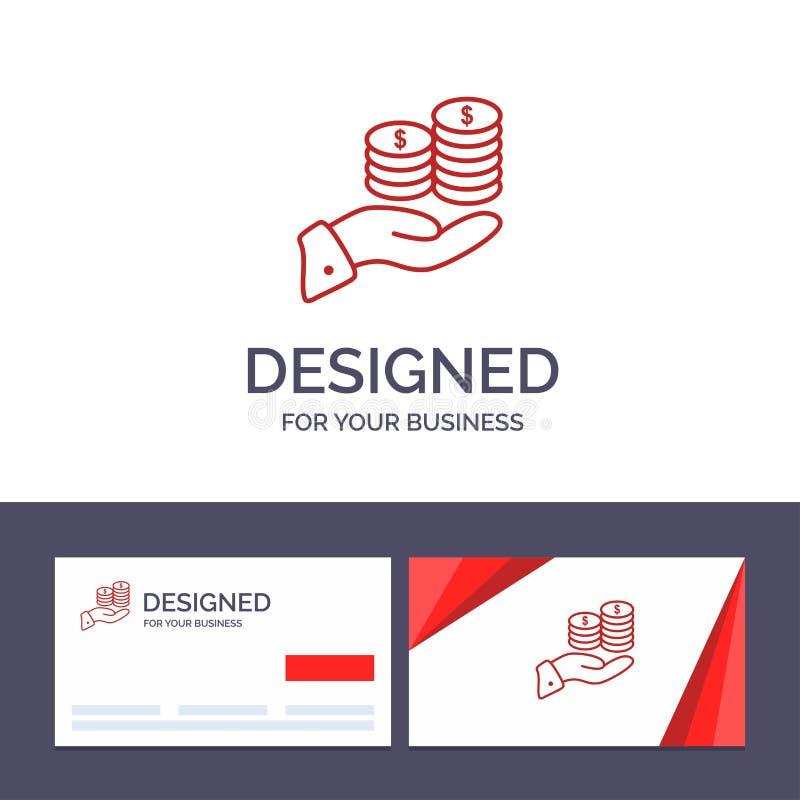 Ahorros de visita de la plantilla creativa de la tarjeta y del logotipo, cuidado, moneda, economía, finanzas, Guarder, dinero, ej stock de ilustración
