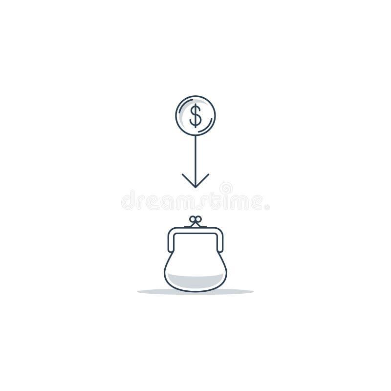 Ahorros del dinero y renta financiera ilustración del vector