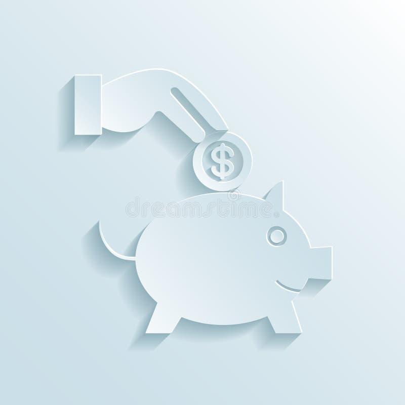 Ahorros e icono de papel de la economía ilustración del vector