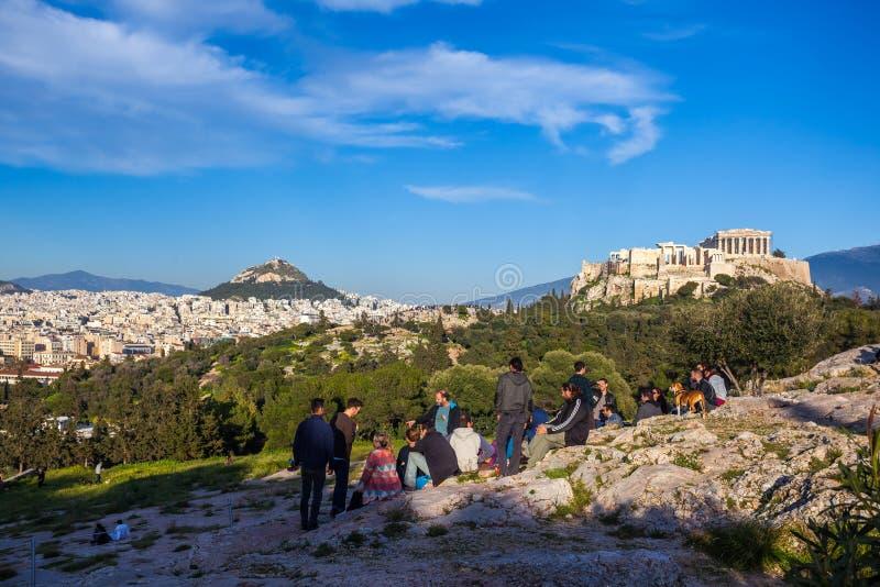 11 03 2018 Ahtens, Grécia - o templo do Partenon no Acropoli fotos de stock royalty free