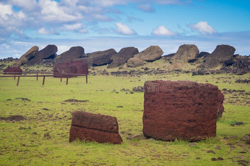 Ahu Akahanga in easter island fallen moais. Pukaos in the floor stock image