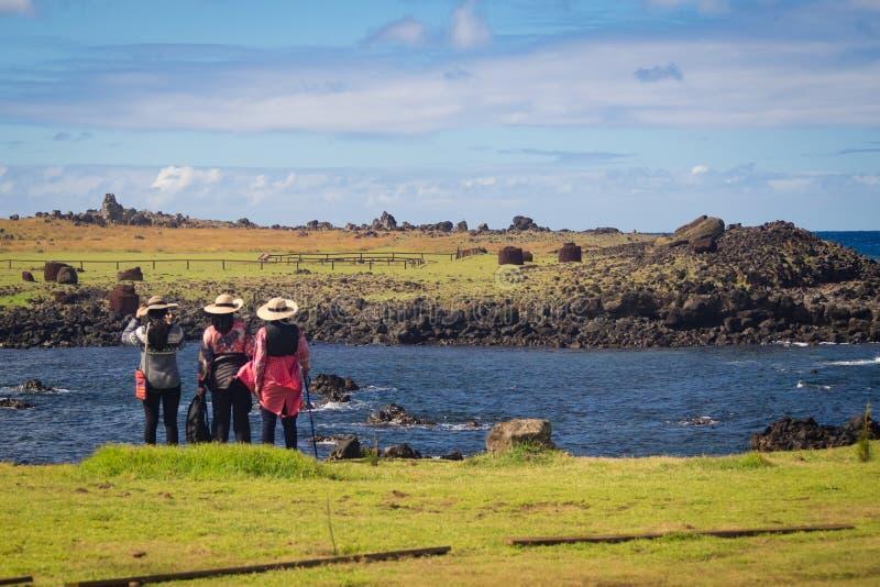 Ahu Akahanga in easter island fallen moais royalty free stock photo