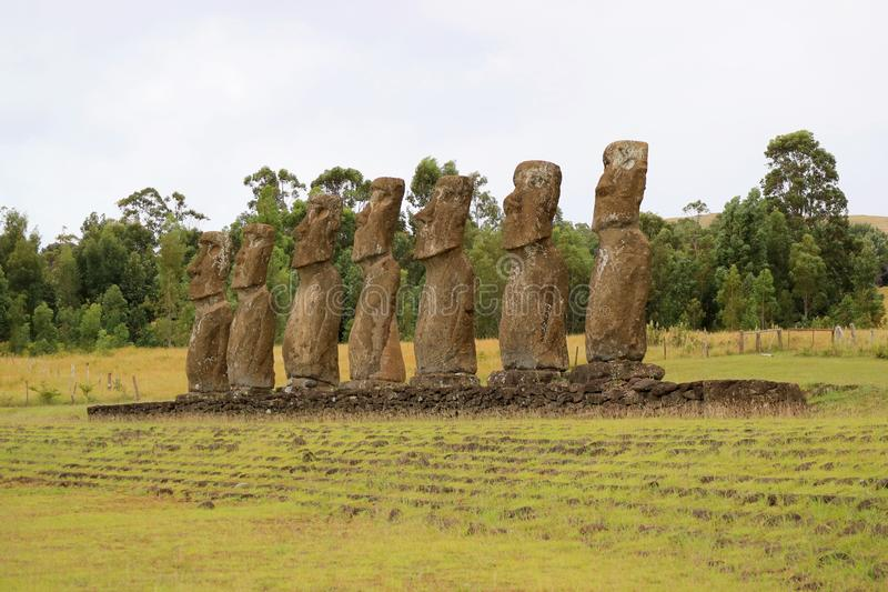 Ahu Akivi, the Ceremonial Platform which the Group of Moai Statues Looking Out Towards Pacific Ocean, Easter Island, Chile royalty free stock photos